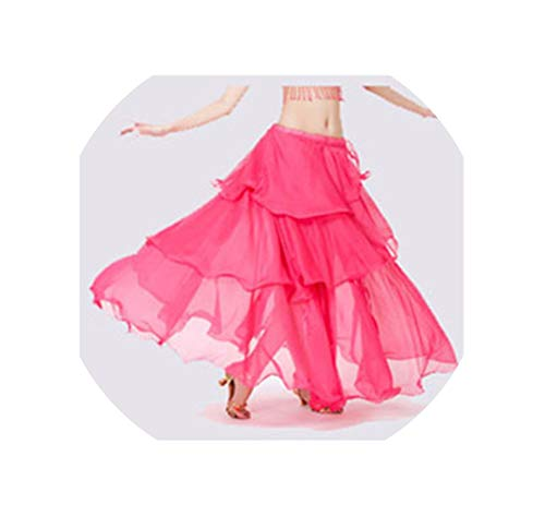 Belly Dance Costume Long Wave Skirt Dress10 for Belly Dancer Dancing Skirts,Rhodo,One Size ()