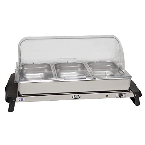 (Cadco WTBS-3RT Stainless Triple Buffet Server with Roll Top Lid)