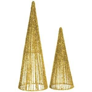 Gold Glitter Topiary Cones, Set 2