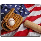 Luxlady Gaming Mousepad Baseball bat and glove symbolizing the American Pastime IMAGE ID 519157
