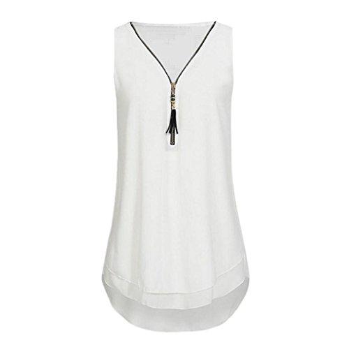 T Weiß Frauen Tank Sommer 5 Tops DOLDOA Damen Shirt Oberteile Reißverschluss 6nwxgzHqZ0