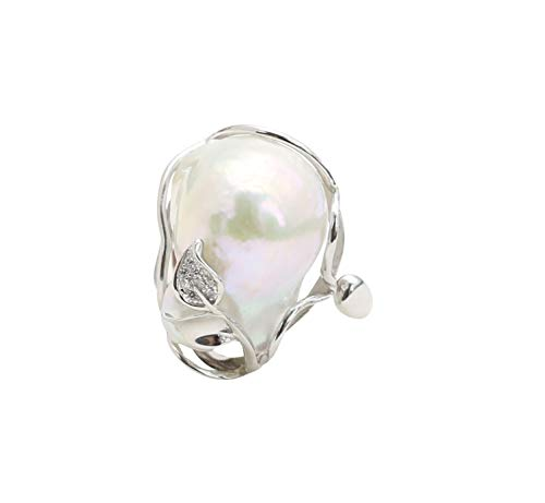 Sterling Silver White Baroque Freshwater Cultured Pearl Ring for Women