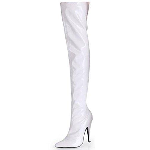con rodilla tacón mujeres Elasticidad de Botas de Charol Botas Señoras Puntiagudo De 37 A las latón de Botas 40 altas Bien WHITE Botas alto q8fAI6