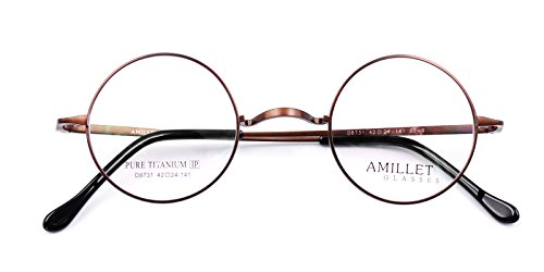 Amillet Retro Mens Round Titanium Eyeglass Frames Spectacles 8731