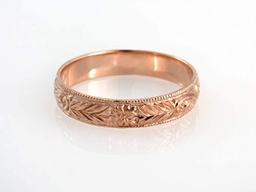 (Vintage Style Wedding Ring, Unisex Antique Style Engraved Floral Pattern Band Made of 14K Rose Gold, Handmade Jewelry, Size 7 US)