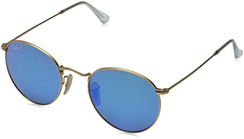 Ray-Ban RB3447 Round Metal Sunglasses, Matte Gold/Polarized Blue Flash, 50 ()