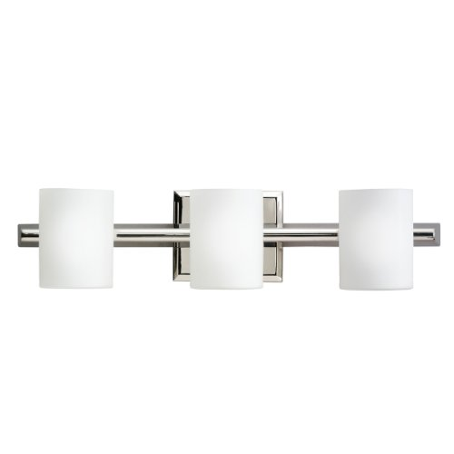 Kichler 5967PN Tubes 3LT Vanity Fixture, Polished Nickel Finish with Opal Etched Glass (Glass Opal Cream Etched)