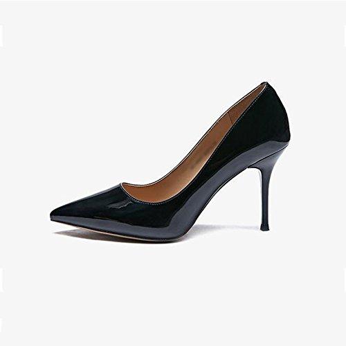 JIANXIN Damen Feine Fersen Und High Heels Und Spitzer Spitzer Spitzer Einzelner Schuhe Nackte Damenschuhe Frühling. (Farbe   SCHWARZ größe   EU 38 US 7 UK 5 JP 24.5cm) 83964a