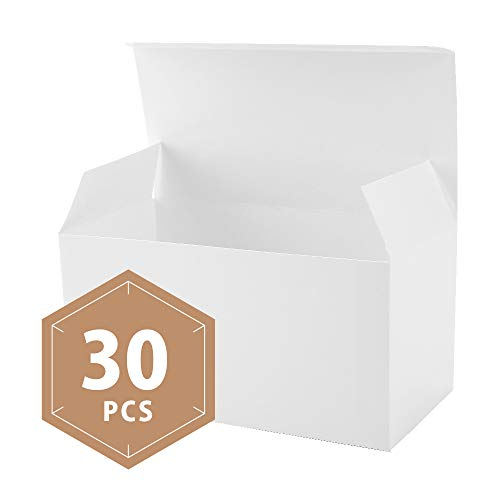 PACKHOME 30 White Gift Boxes with Lids 9x4.5x4.5 Inches Paper Gift Box for Wedding,Gift,Party,Recycled Paper -