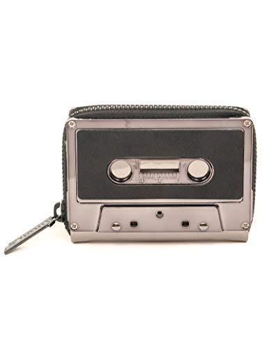 Chrome Coin - FYDELITY- Cassette Tape Wallet   GUN METAL Metallic Chrome DUSTER BLACK   Coin