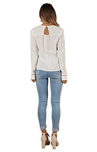 Casual Automne Rond Chemisiers Shirt T et JackenLOVE Col Blouse Printemps Femme Blanc Shirts Top Tee Dentelle Haut Longues Fashion pissure Manches OAxPqCwx