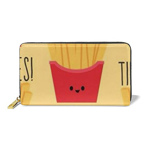Poream French Fries Personalized Leather Zipper Printed Clutch Bag Wallet Card Large Capacity Long Purse For Women (Purse Leather French Personalized)