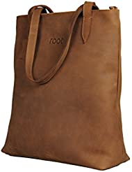 "Root Premium Genuine Cowhide Tote Leather Shoulder Bag For Women 14"" inch Brown Color"