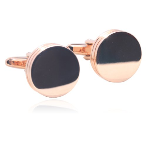Cufflinks White Rose (Smooth Round Cufflinks 18K Rose Gold Plated Gift Boxed By Digabi)