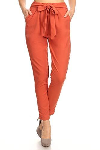 ShoSho Womens Loose Fit Jogger Harem Pants Casual Bottoms Twill Knit Semi Harem Solid Paprika Large