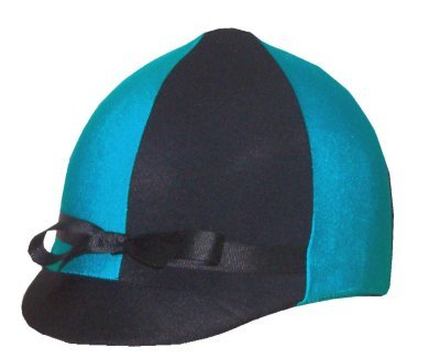 (Equestrian Riding Helmet Cover - Turquoise and Black)