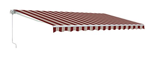 ALEKO AWM20X10MSRED19 Retractable Motorized Patio Awning 20 x 10 Multi-Stripe Red