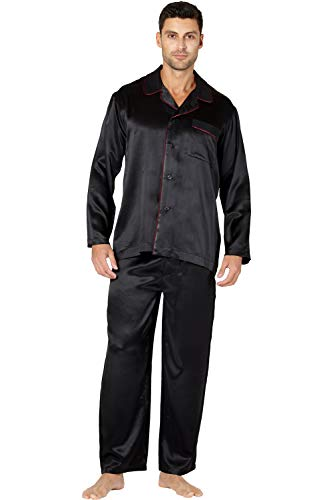 Drawstring Silk Robe (INTIMO Men's Silk Pajama with Flat Piping Detail, Black/Red, L)