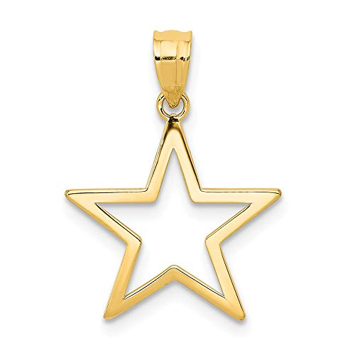 Solid 14k Yellow Gold Star Pendant Charm (15mm x 17mm)