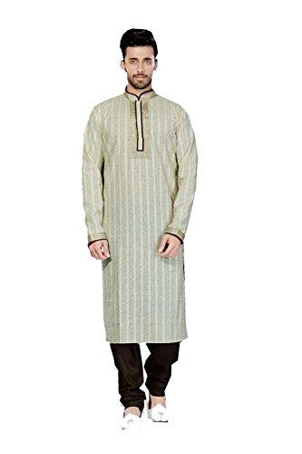 PCC Mens Kurta Pajama Wedding Printed Cotton Cream India Party Wear Set by PinkCityCreations