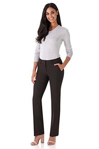 Rekucci Women's Smart Stretch Desk to Dinner Straight Leg Pant w/Zipper Closure (6,Coffee - Trousers Wide Tailored Leg
