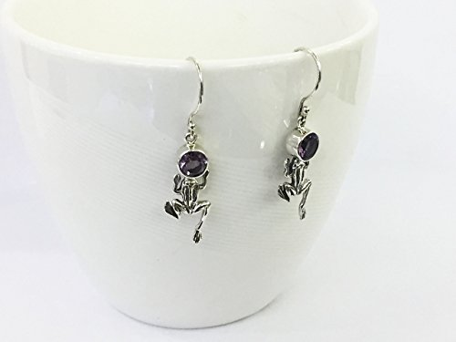 925 sterling silver frog earrings with natural brazilian amethyst, genuine amethyst earrings Sterling Silver Brazilian Amethyst Ring