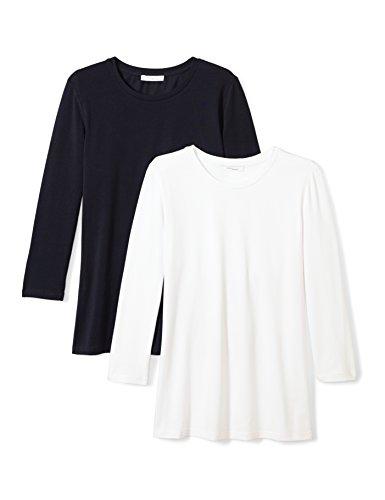 Sleeve Three Quarter Crewneck (Daily Ritual Women's Stretch Supima 3/4-Sleeve Crew Neck T-Shirt, 2-Pack, M, White/Navy)