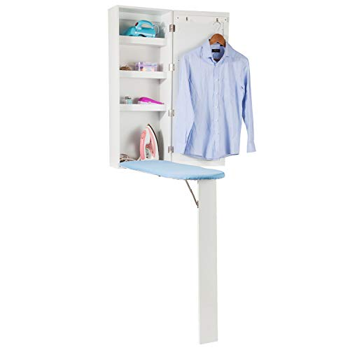 Wooden-Life Hossejoy Wall Mount Fold Out Ironing Board Cabinet with Rectangle Mirror and Storage …