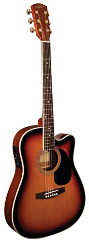 Body Acoustic Guitar Vintage - INDIANA I-TB2VB Thin Body Acoustic Electric Guitar - Vintage Tobacco Sunburst