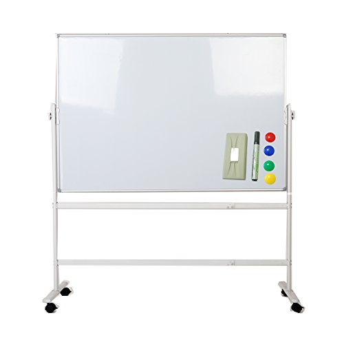 ZHIDIAN Office 36×56Inch Mobile Double Sided Magnetic White Dry Erase boards Stand Easel / 2 marker color magnet 4 eraser 1 Include (56×36Inches, Mobile stand) by ZHIDIAN
