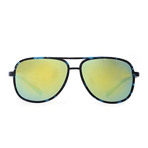 Retro Polarized Aviator Sunglasses Mirror Lightweight Eyeglasses for Men Women (Black & Blue / Polarized Mirrored Blue - Lightweight Eyeglasses Ultra