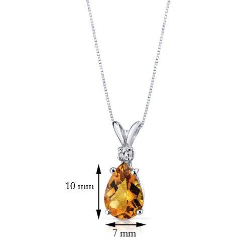 Revoni 14ct or blanc 585/1000 en forme de poire 1.50 Carats Citrine diamant pendentif Collier