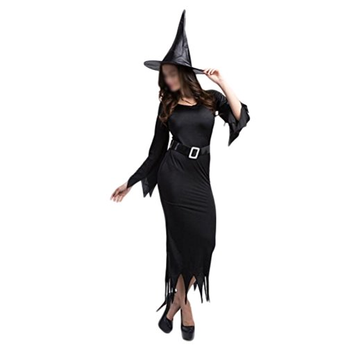 [Nanxson(TM) Women's Dark Witch Sorceress Dress Adult Costume EXW0007 (black)] (Bunny Dress Tux Tails Adult Costumes)