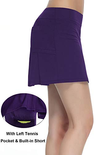 Women's Workout Active Skorts Sports Tennis Golf Skirt with Built-in Shorts Size M (Deep Purple)