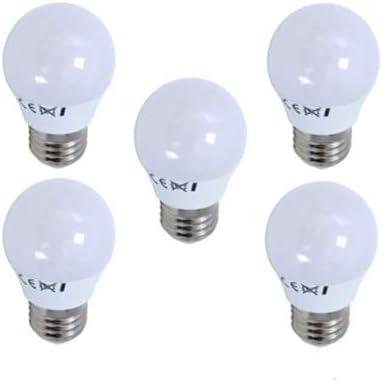 BombillasLed360 - Pack 5 x Bombilla Led Esférica G45 casquillo E27 de 6W - Luz Fría 6000/6500k - 540 Lm - Led SMD - CRI 80 en plástico, Color Blanco: Amazon.es: Iluminación