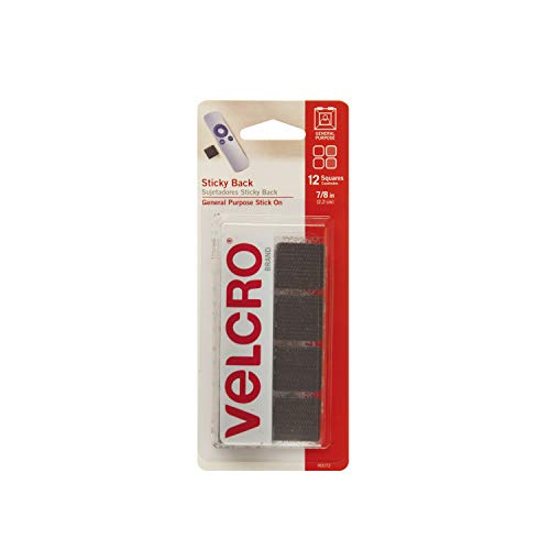 VELCRO Brand - Sticky Back Hook and Loop Fasteners | Perfect for Home or Office | 7/8in Squares | Pack of 12 | Black