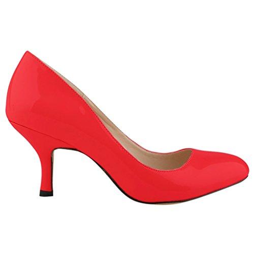 col WanYang punta Rosso a Kitten Tacco Scarpe Heel Scarpe Shoes Donna Tacco Classiche col Scarpe vqYAwnfqg