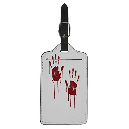 Pinbeam Luggage Tag Red Blood Bloody Scary Hands Handprint Abstract Creepy Suitcase Baggage Label ()