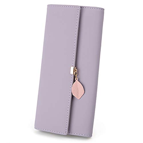 UTO Women PU Leather Wallet Large Capacity Leaf Pendant Card Phone Holder Checkbook Organizer Zipper Coin Purse Light Purple (Best Leather Wallet Womens)