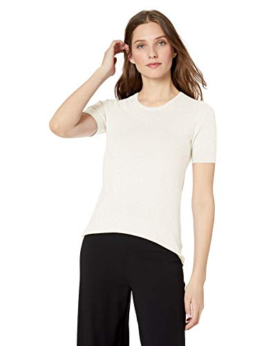 Lark & Ro Women's Short Sleeve Crew Neck Pima Cotton Sweater, Ivory Heather , Large