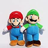 2Pcs/Lot 10inch 25cm Super Mario Bros Stand MARIO LUIGI Plush Doll Stuffed Toys Great Gift