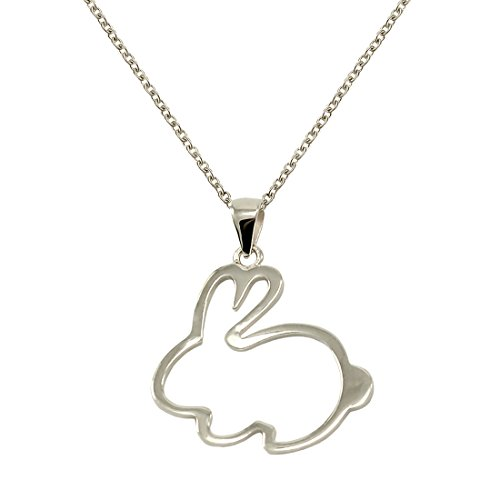 TIKIVILLE 925 Sterling Silver bunny Pendant Necklace 1 by 1 Inch Rhodium Plated