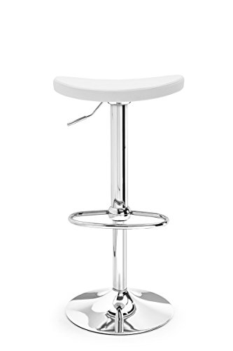 Soul Barstool by Connubia Calligaris - Chromed metal structure, white ecoleather
