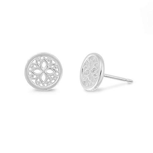 Boma Jewelry Sterling Silver Lotus Flower Stud Earrings