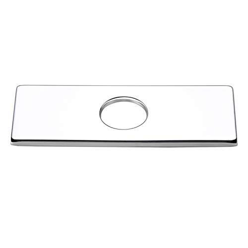 Square Mounting Holes - Homary Bathroom Sink Faucet Hole Cover Deck Plate 6-Inch Replacement 3 Holes Rectangular Escutcheon Stainless Steel in Polished Chrome Finish