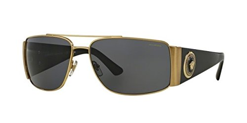 Versace Mens Sunglasses (VE2163) Gold/Grey Metal - Polarized - - For Versace Men Sunglass