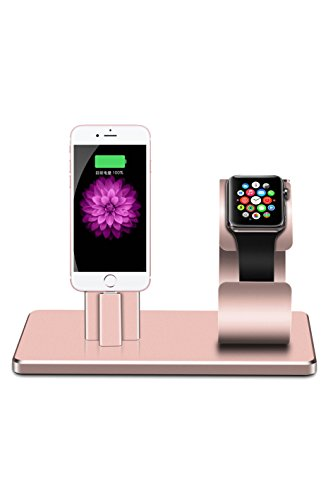 Price comparison product image Apple Watch Stand iPhone Docking Station, 2-in-1 Multi-Charging Station Hub for Apple Watch Series and iPhone Rose Gold