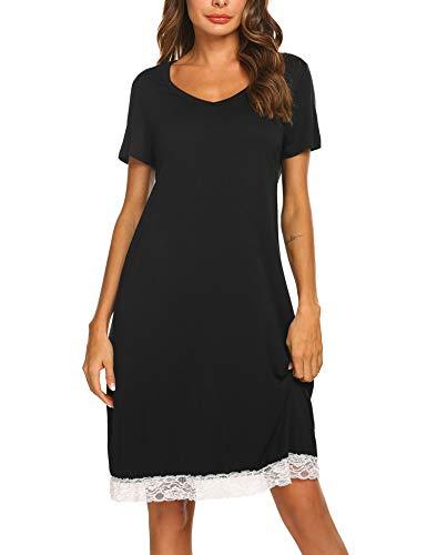 Ekouaer Women's Nightgown Cotton Sleep Shirt V Neck Short Sleeve Sleepwear Black M