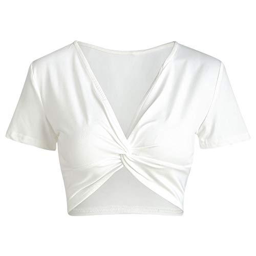 Leomodo Plunge Neck Twist Front Crop Top White