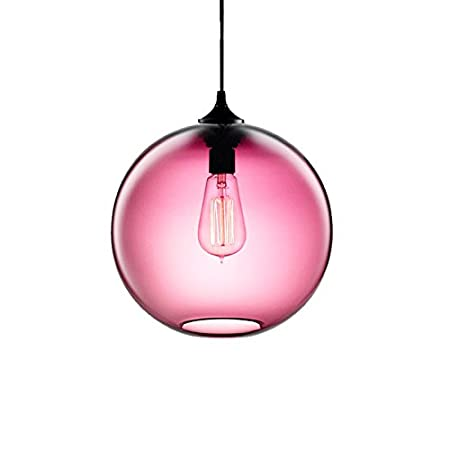 Hjxdtech New Glass Lampshade Diy Chandelier Loft Pendant Light Retro Ceiling Lamp Pink